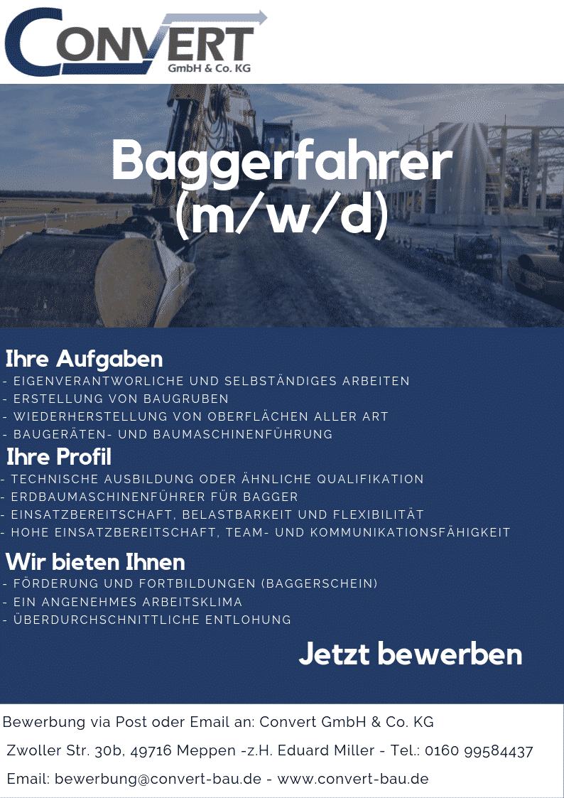 Baggerfahrer Convert Meppen